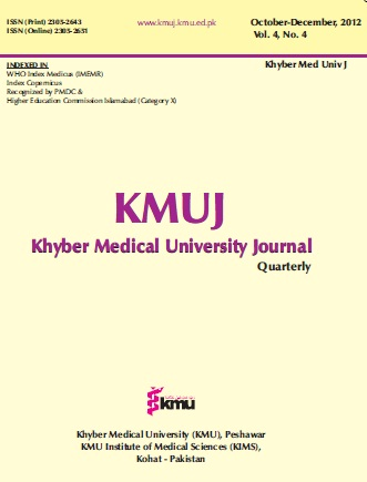 KHYBER MEDICAL UNIVERSITY JOURNAL 2012;4(4)